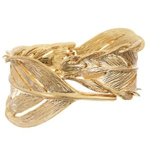 Sculpted Feather Hinged Cuff